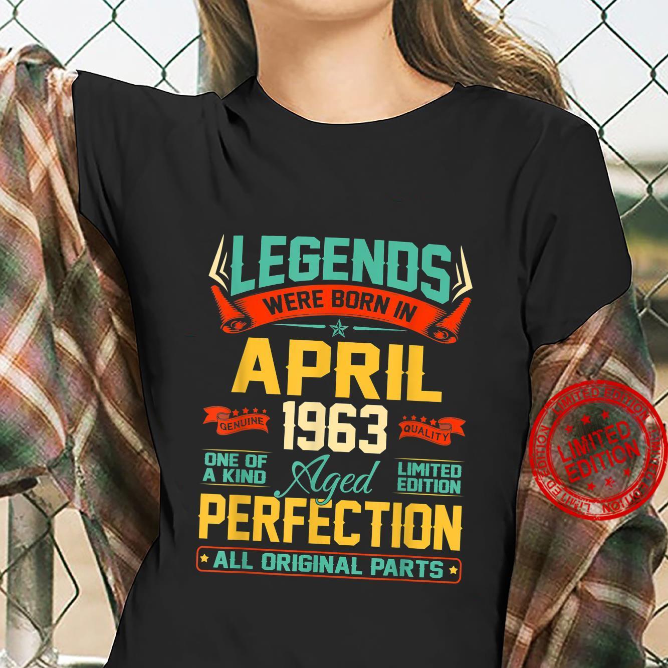 April 1963 58th Birthday 58 Year Old Shirt ladies tee