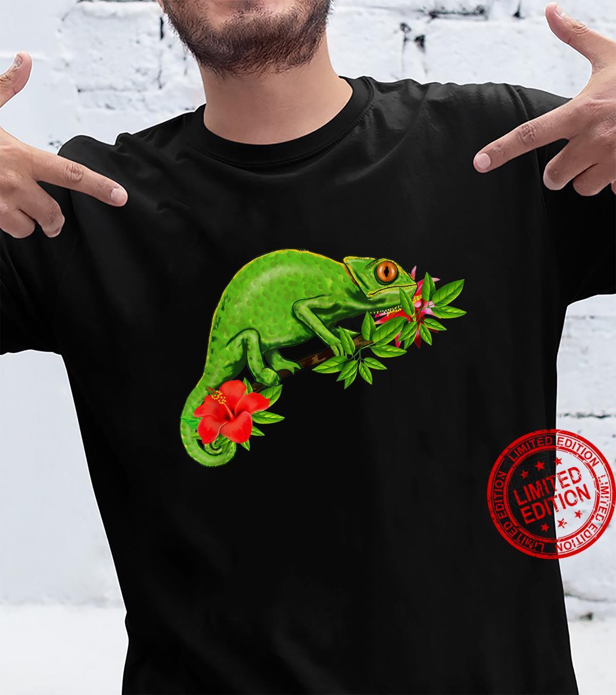 Chamäleon Blumen tropisch, Reptil Shirt