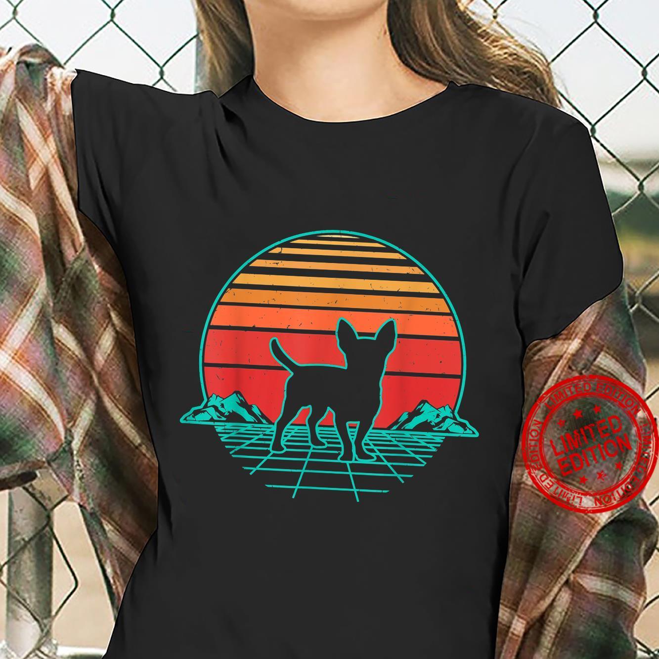 Chihuahua Hund Welpe Retro Vintage Sunset Geschenk Shirt ladies tee
