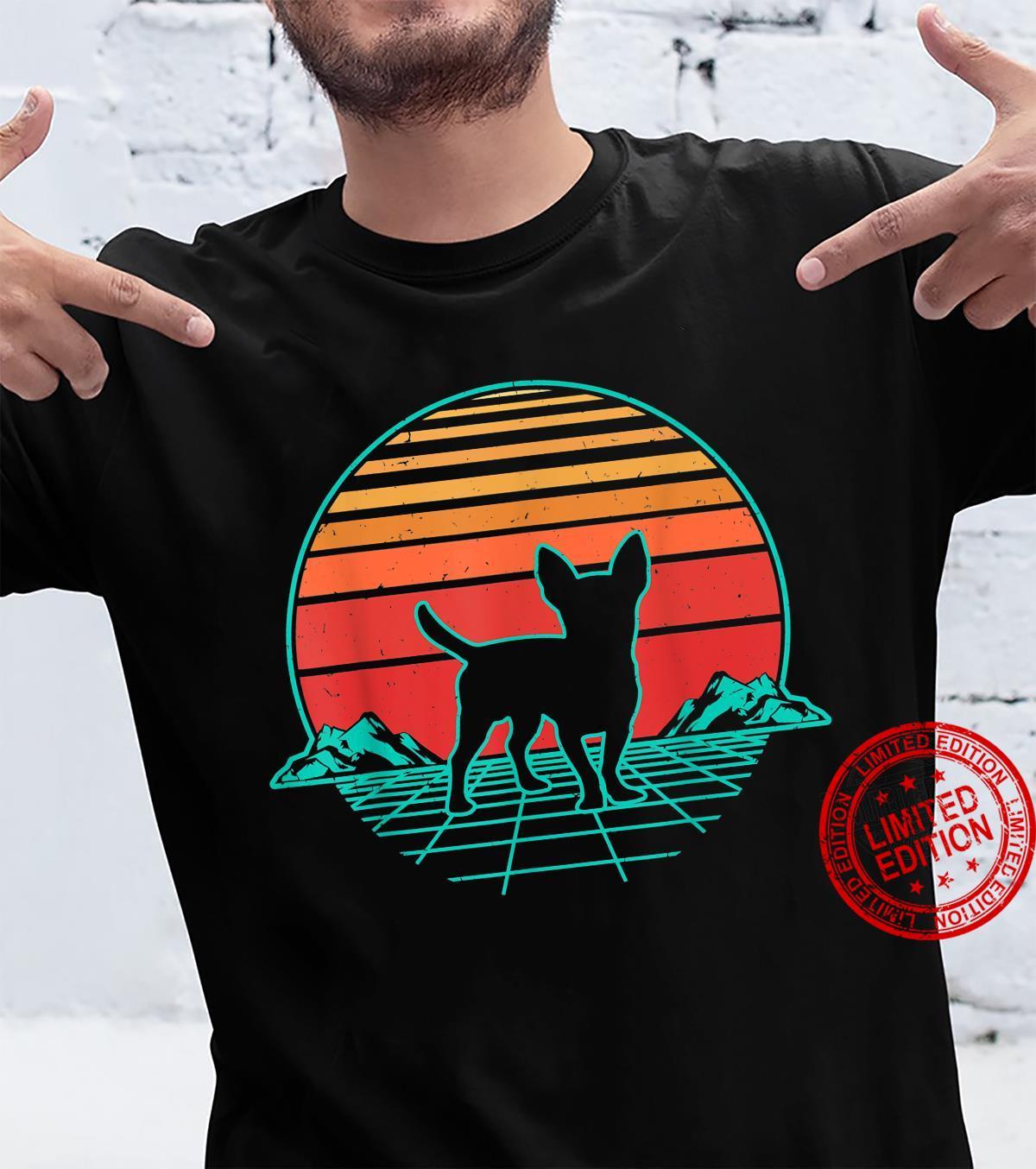 Chihuahua Hund Welpe Retro Vintage Sunset Geschenk Shirt