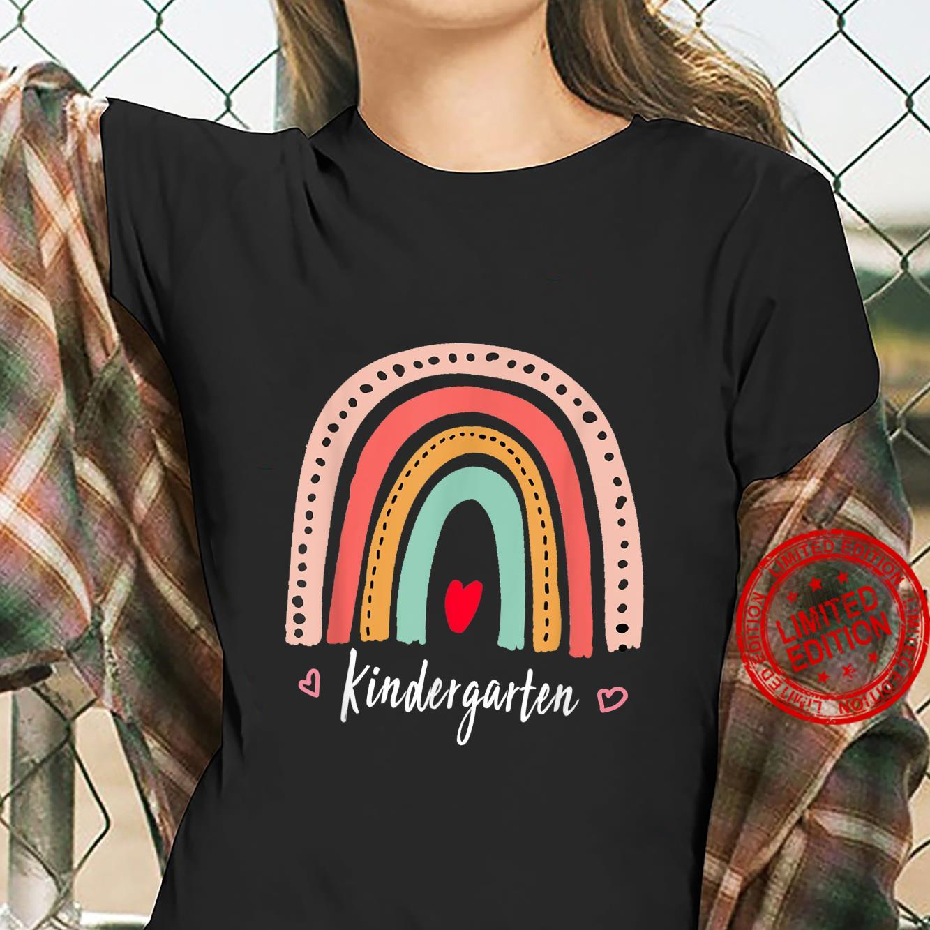 Cute Rainbow Kindergarten Teacher Back To School Shirt ladies tee