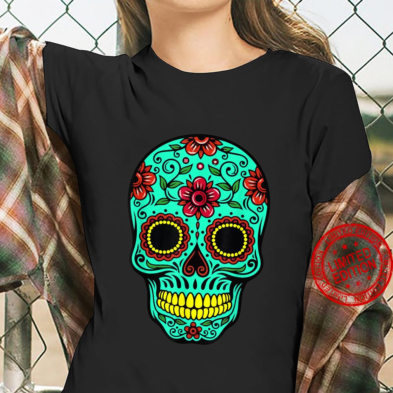 Funny Green Floral Mexican Sugar Skull Day Of The Dead Shirt ladies tee