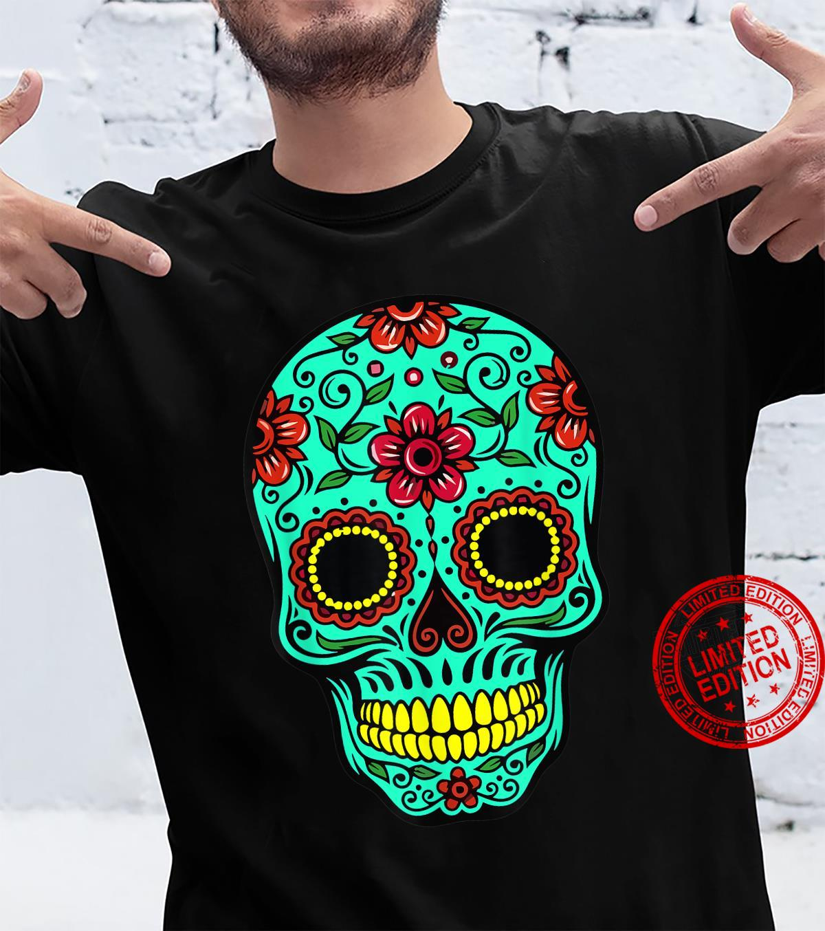 Funny Green Floral Mexican Sugar Skull Day Of The Dead Shirt