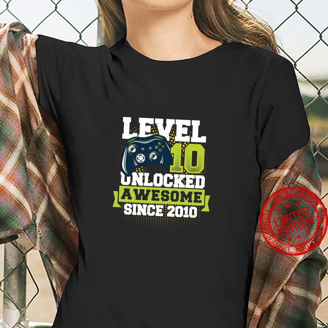 Gaming Level 10 Unlocked Awesome Since 2010 2010 Shirt ladies tee