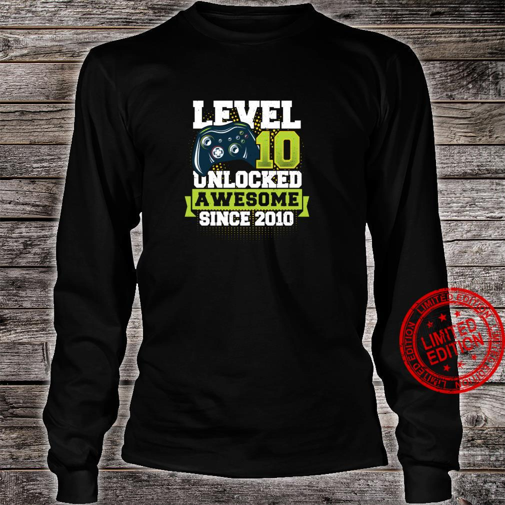 Gaming Level 10 Unlocked Awesome Since 2010 2010 Shirt long sleeved