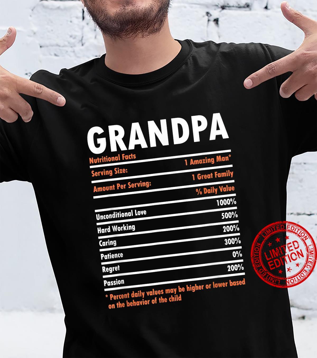 Grandpa Nutritional Facts Family Grandpa Fathers Day Shirt