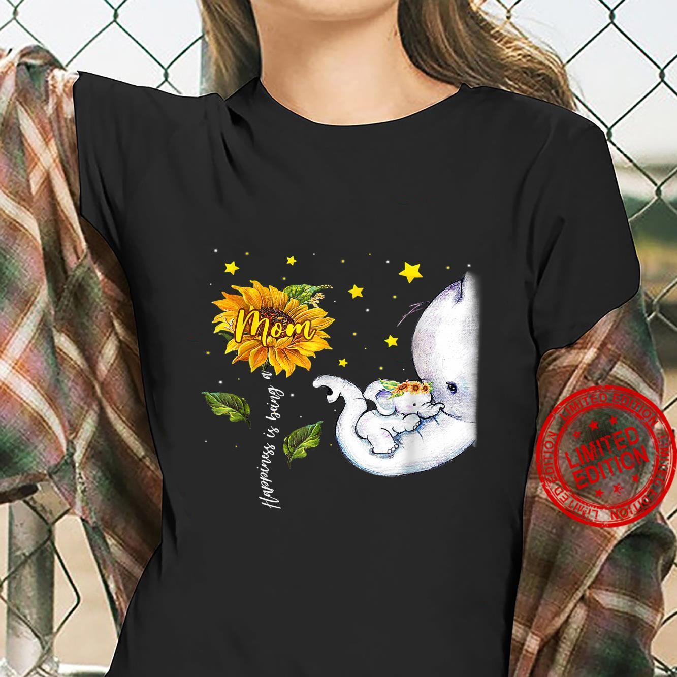 Happiness Is Being A Mom Elephant Mother's Day Shirt ladies tee
