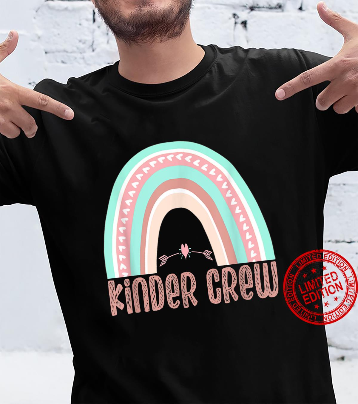 Kinder Crew Rainbow Kindergarten Teacher 1st Day of School Shirt