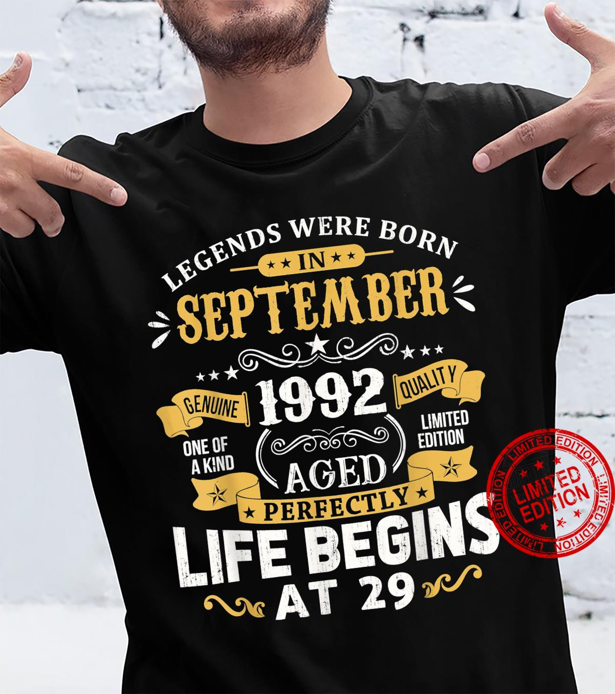 Legends Were Born In September 1992 Shirt 29th Birthday Shirt