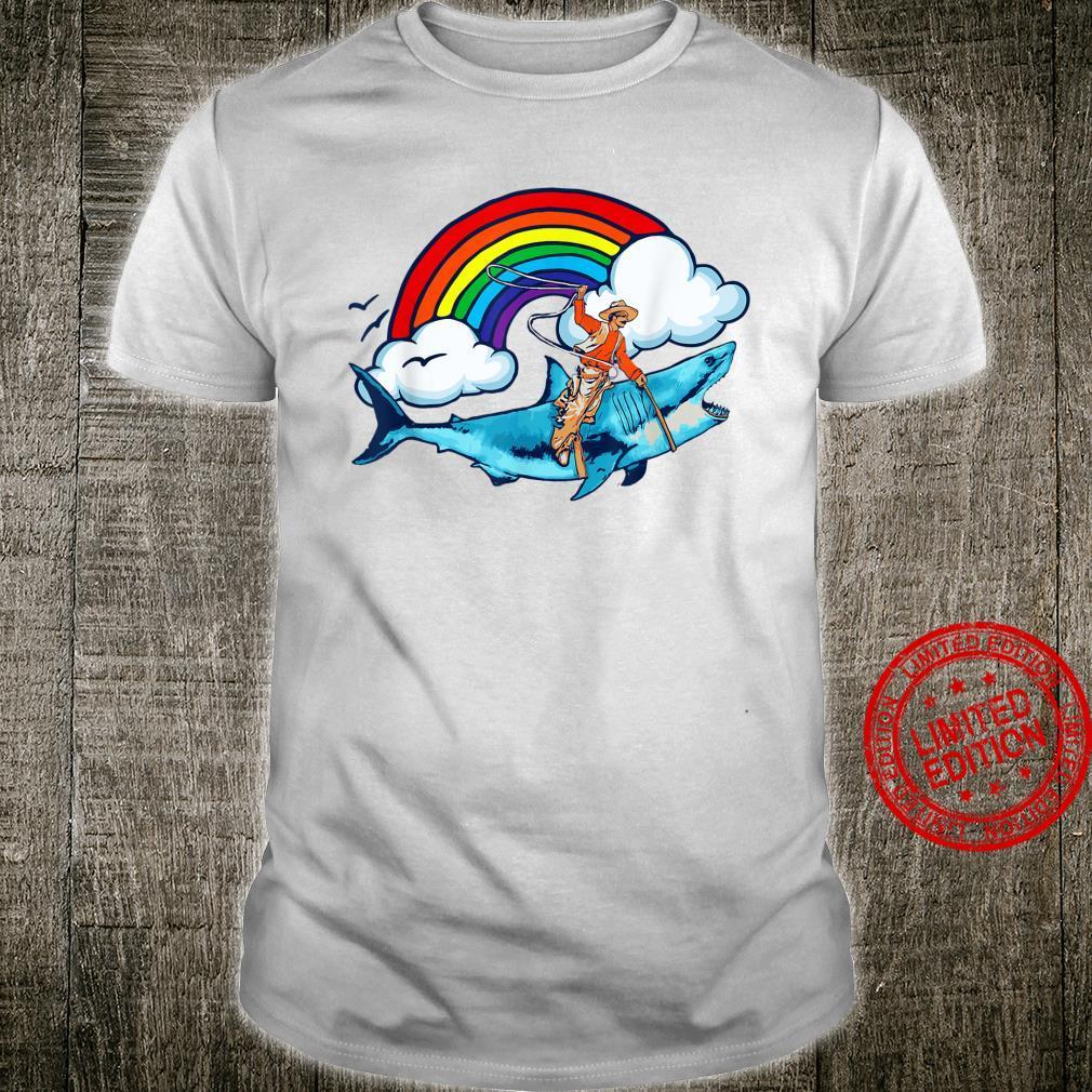 Shark Rodeo Cowboy Riding Great White Rainbow Shirt