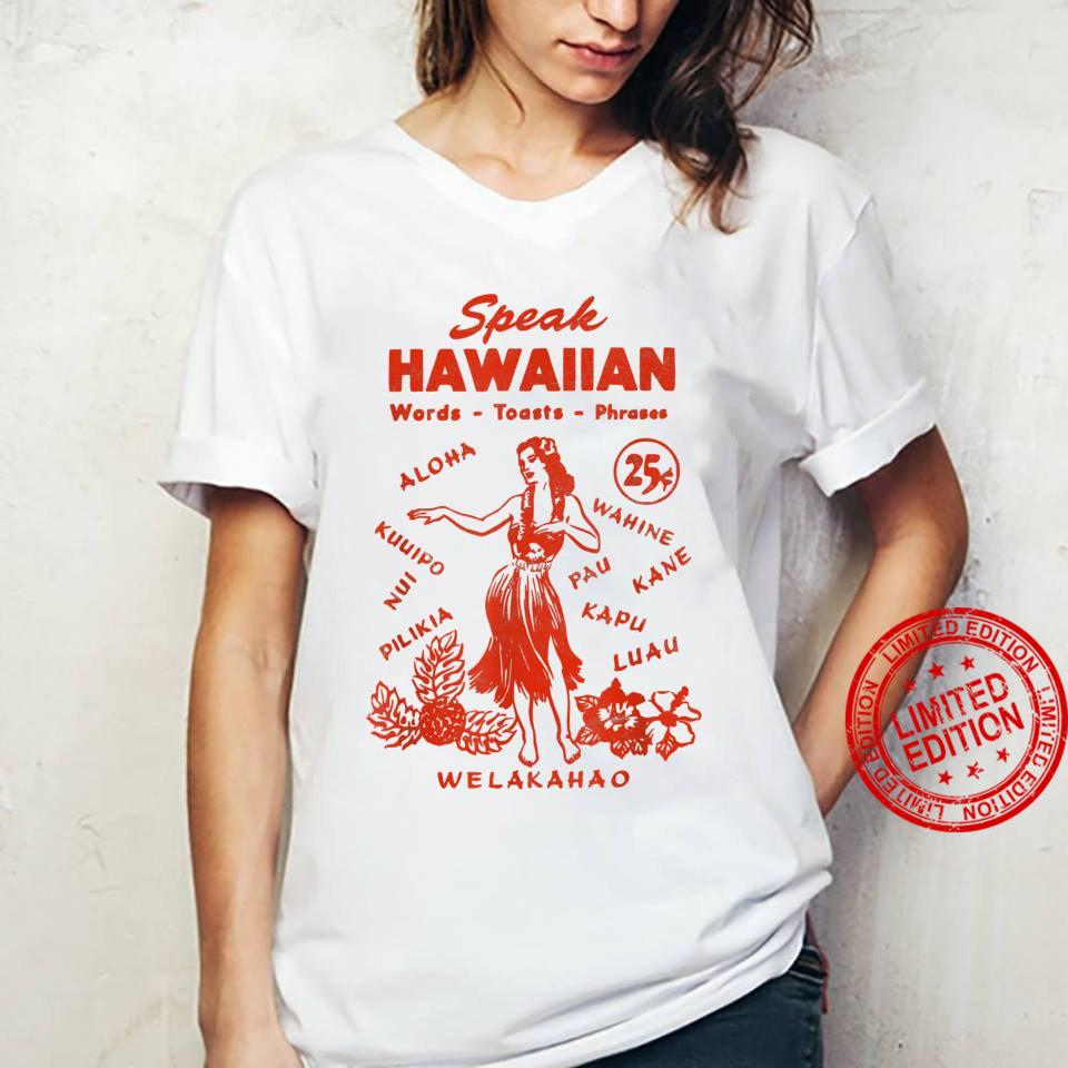 Speak Hawaiian Hawaii Phrasebook 1950s Tiki Style Shirt ladies tee