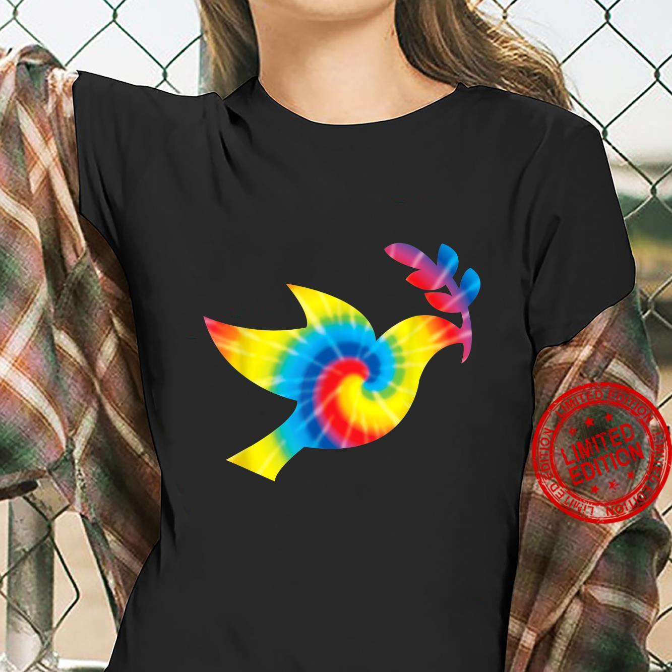 Tie Dye Dove Rainbow Print Pigeon Bird Hippie Peace Shirt ladies tee