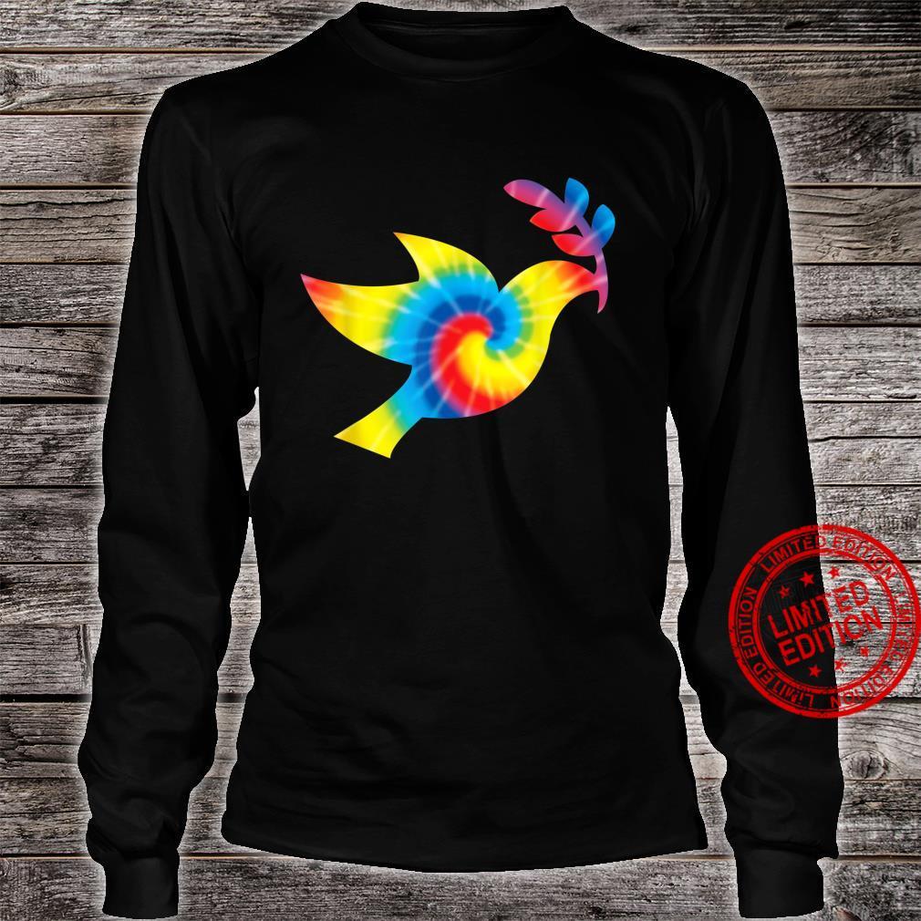 Tie Dye Dove Rainbow Print Pigeon Bird Hippie Peace Shirt long sleeved