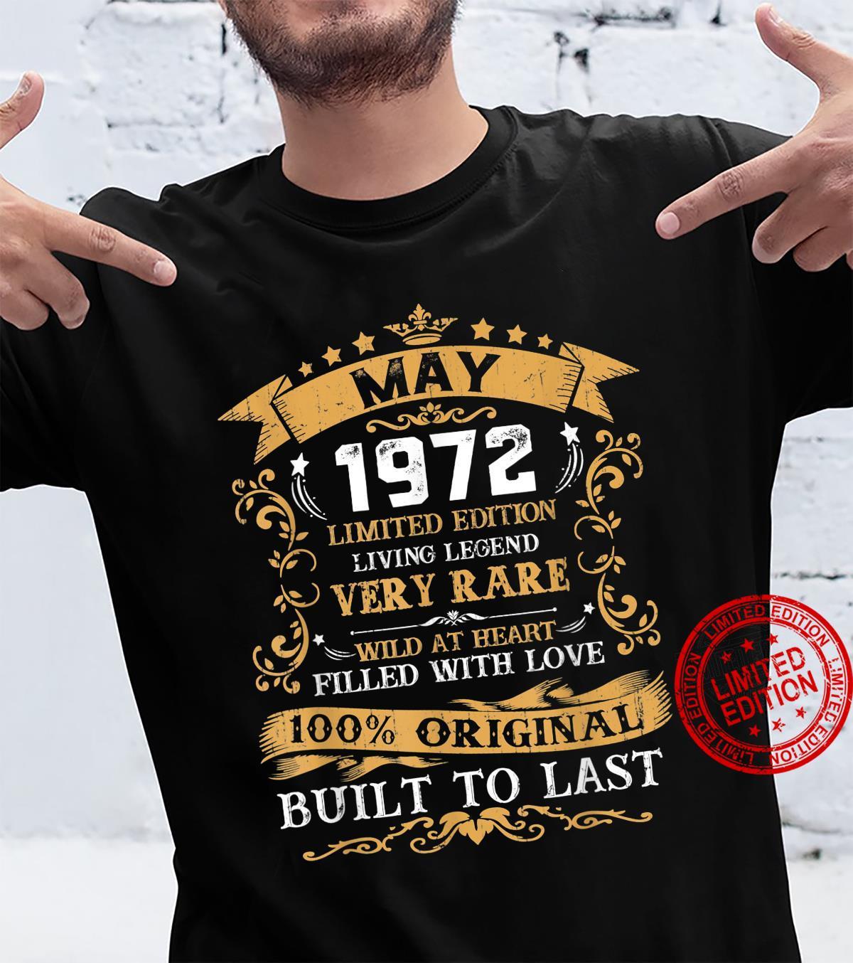Vintage 49th Birthday May 1972 Shirt 49 Years Old Shirt
