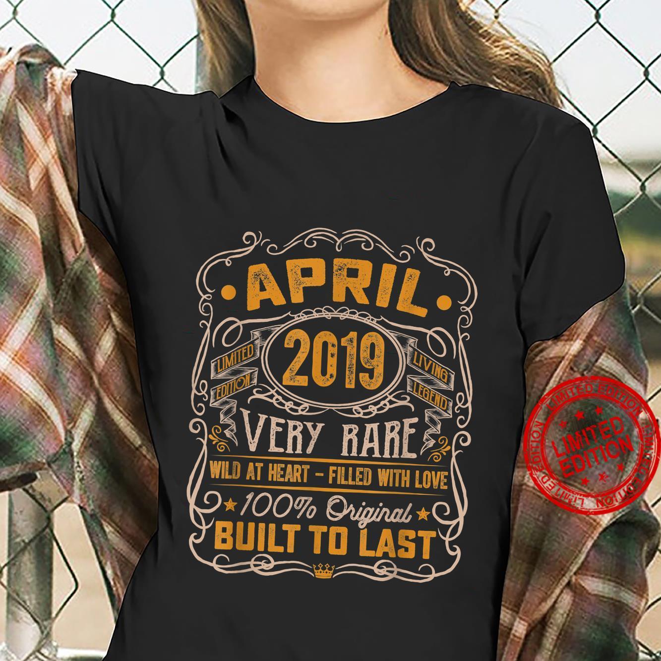 Vintage April 2019 Decorations 2 Years Old 2nd Birthday Shirt ladies tee