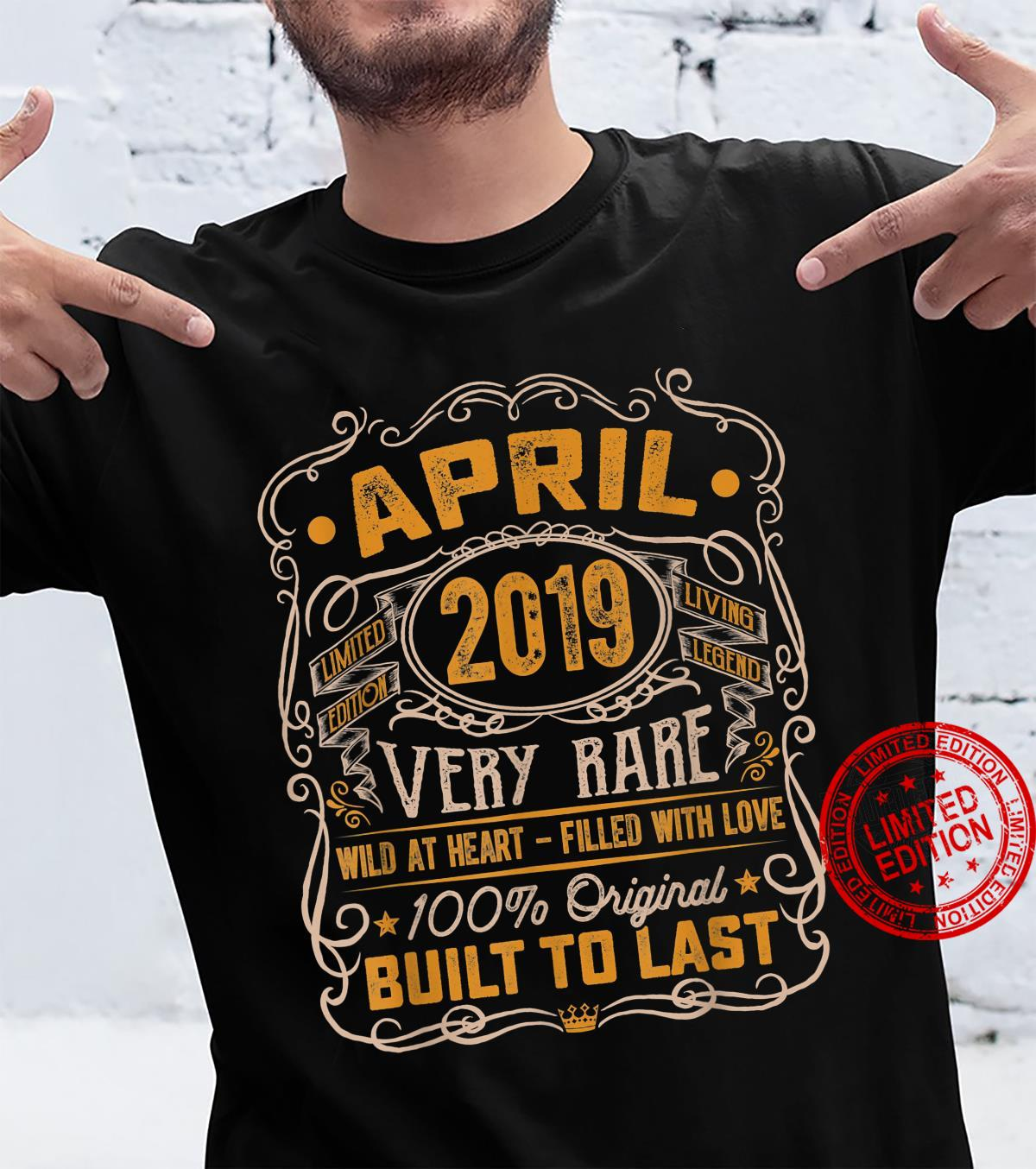 Vintage April 2019 Decorations 2 Years Old 2nd Birthday Shirt