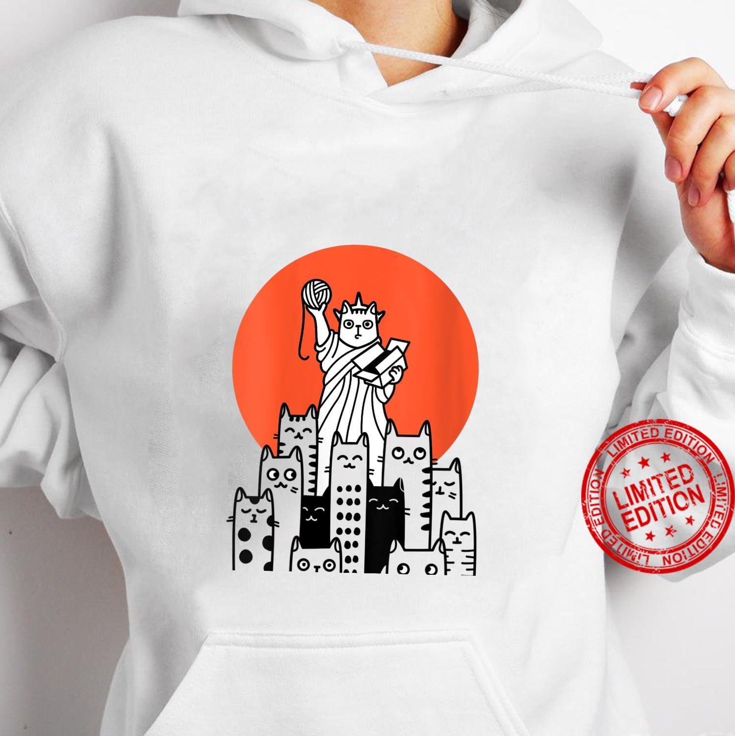Womens Cat in New York, NYC, America, USA, Patriot, Manhattan Shirt hoodie