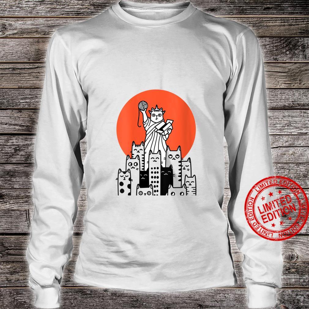 Womens Cat in New York, NYC, America, USA, Patriot, Manhattan Shirt long sleeved