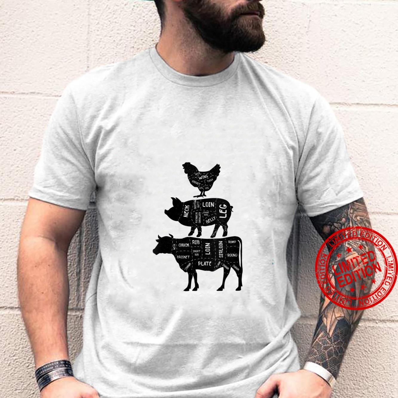 Womens Cow Pork and Chicken Diagram Cuts for Butcherss Design Shirt
