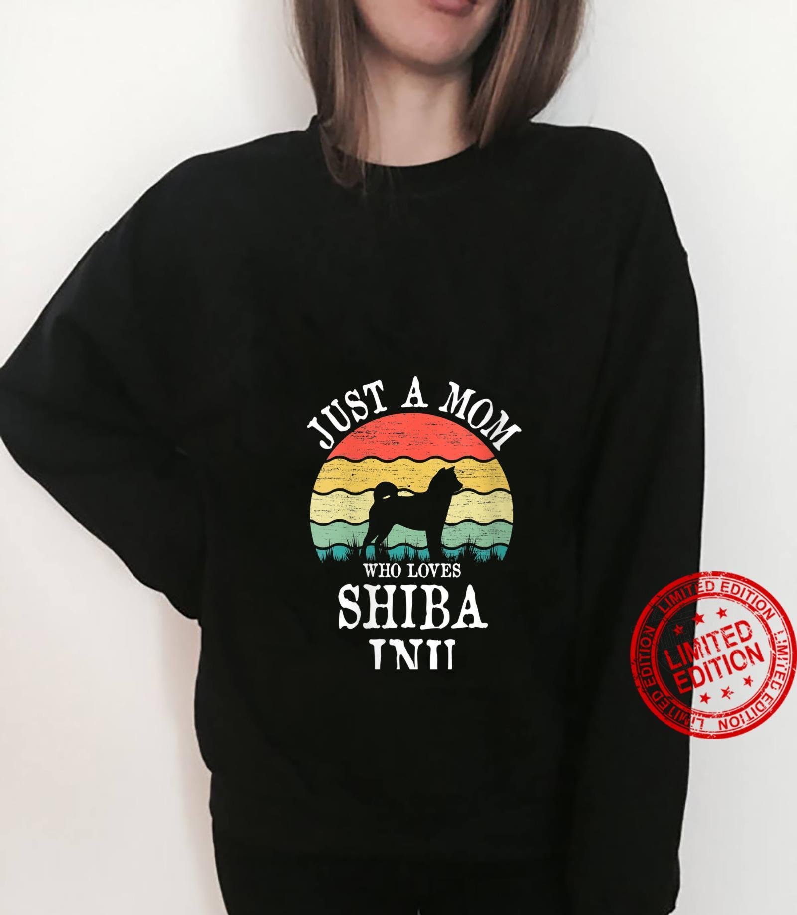 Womens Just A Mom Who Loves Shiba Inu Dog Mom Shirt sweater