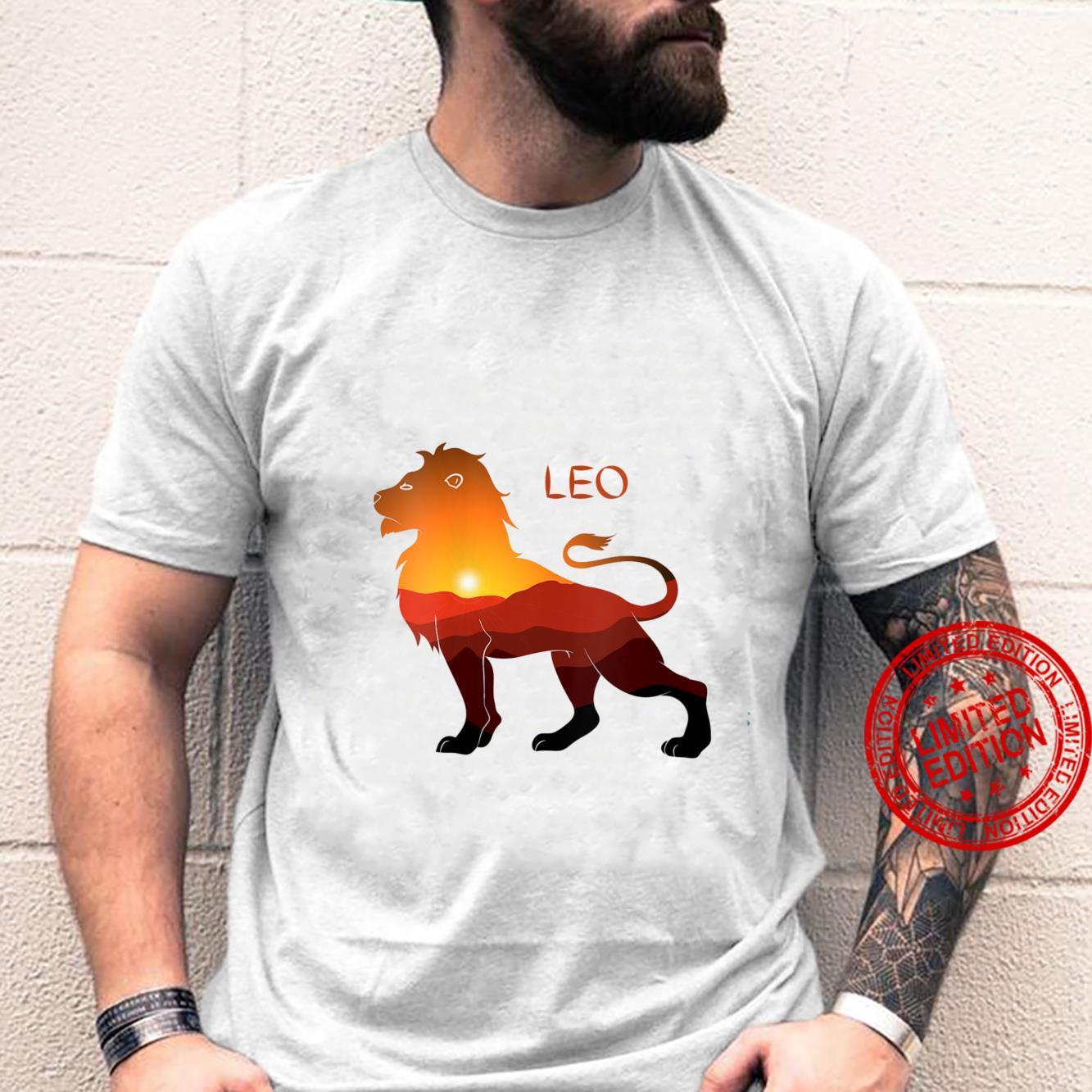 Womens LEO Proud Lion Sunset Shirt