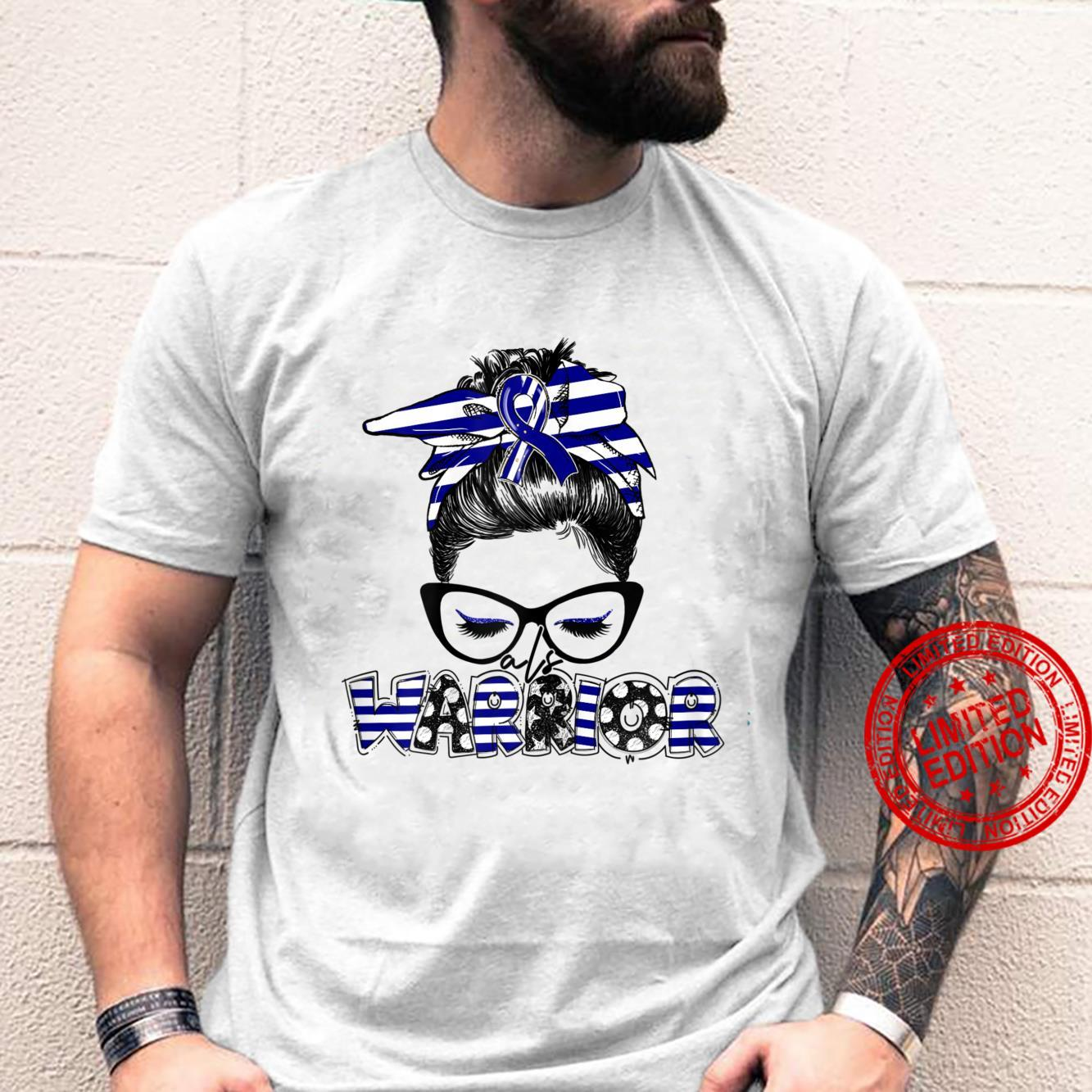Womens Messy Bun With Glasses ALS Awareness Month Shirt