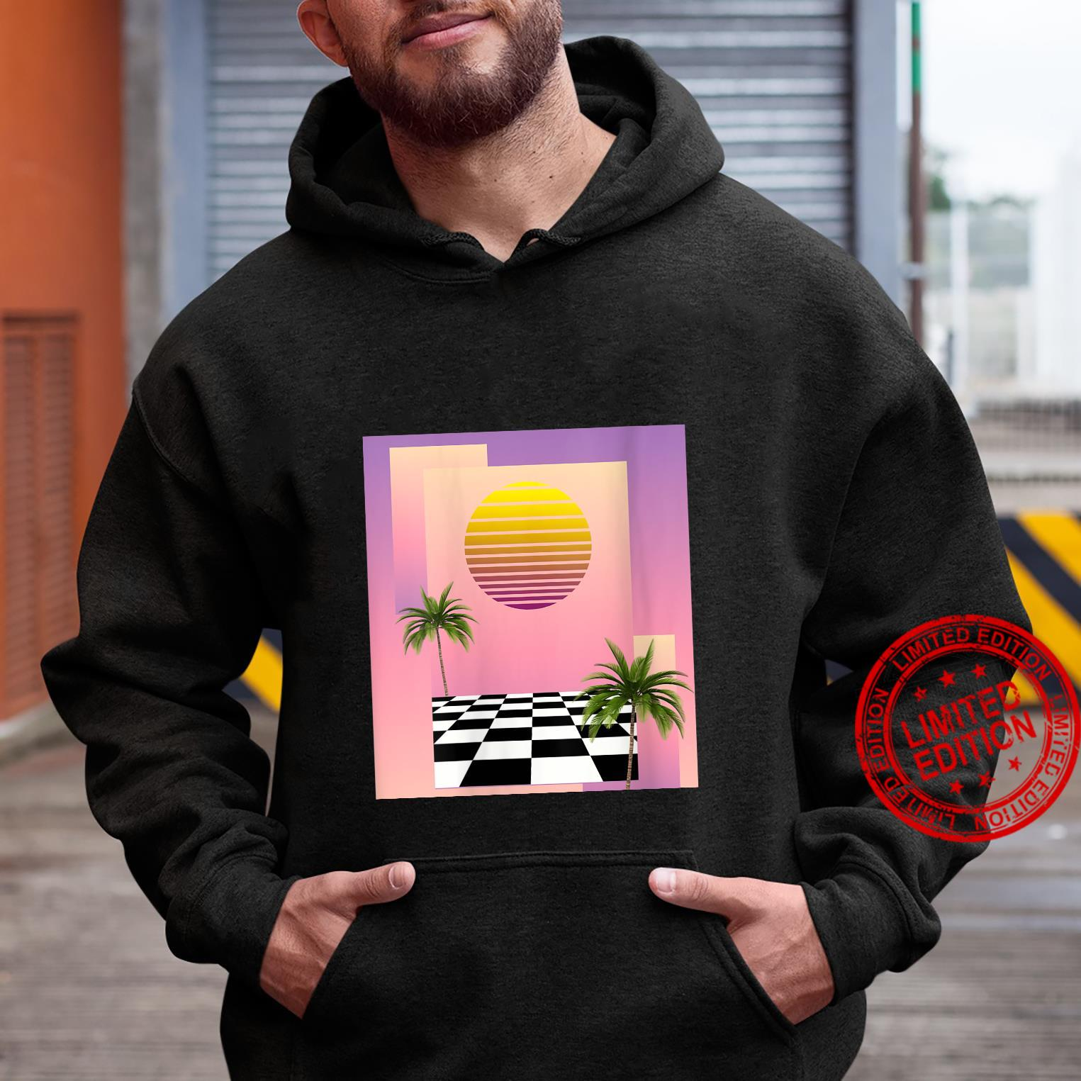 Womens Retro 80s Aesthetic Vaporwave Sunset with palm trees Shirt hoodie