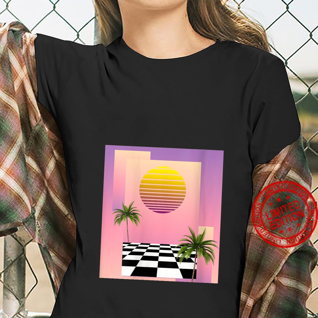 Womens Retro 80s Aesthetic Vaporwave Sunset with palm trees Shirt ladies tee
