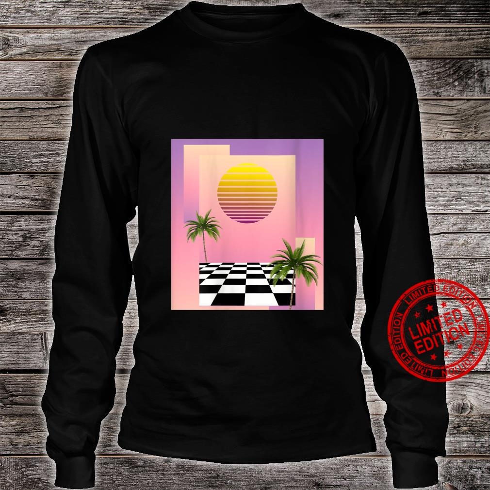 Womens Retro 80s Aesthetic Vaporwave Sunset with palm trees Shirt long sleeved