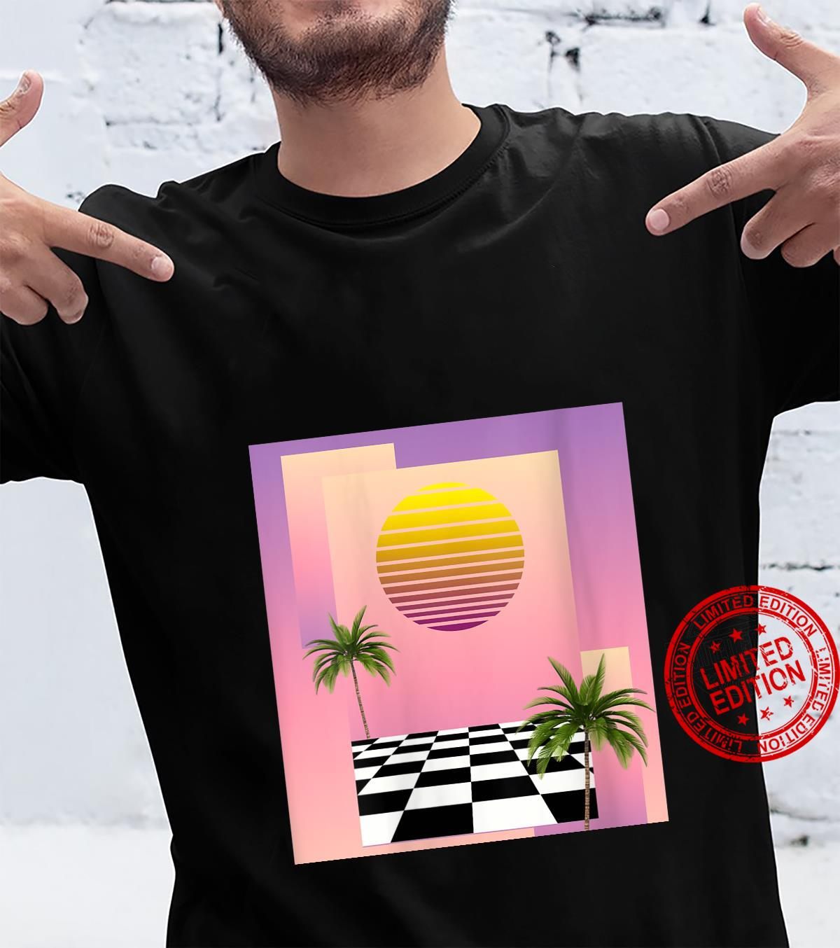 Womens Retro 80s Aesthetic Vaporwave Sunset with palm trees Shirt