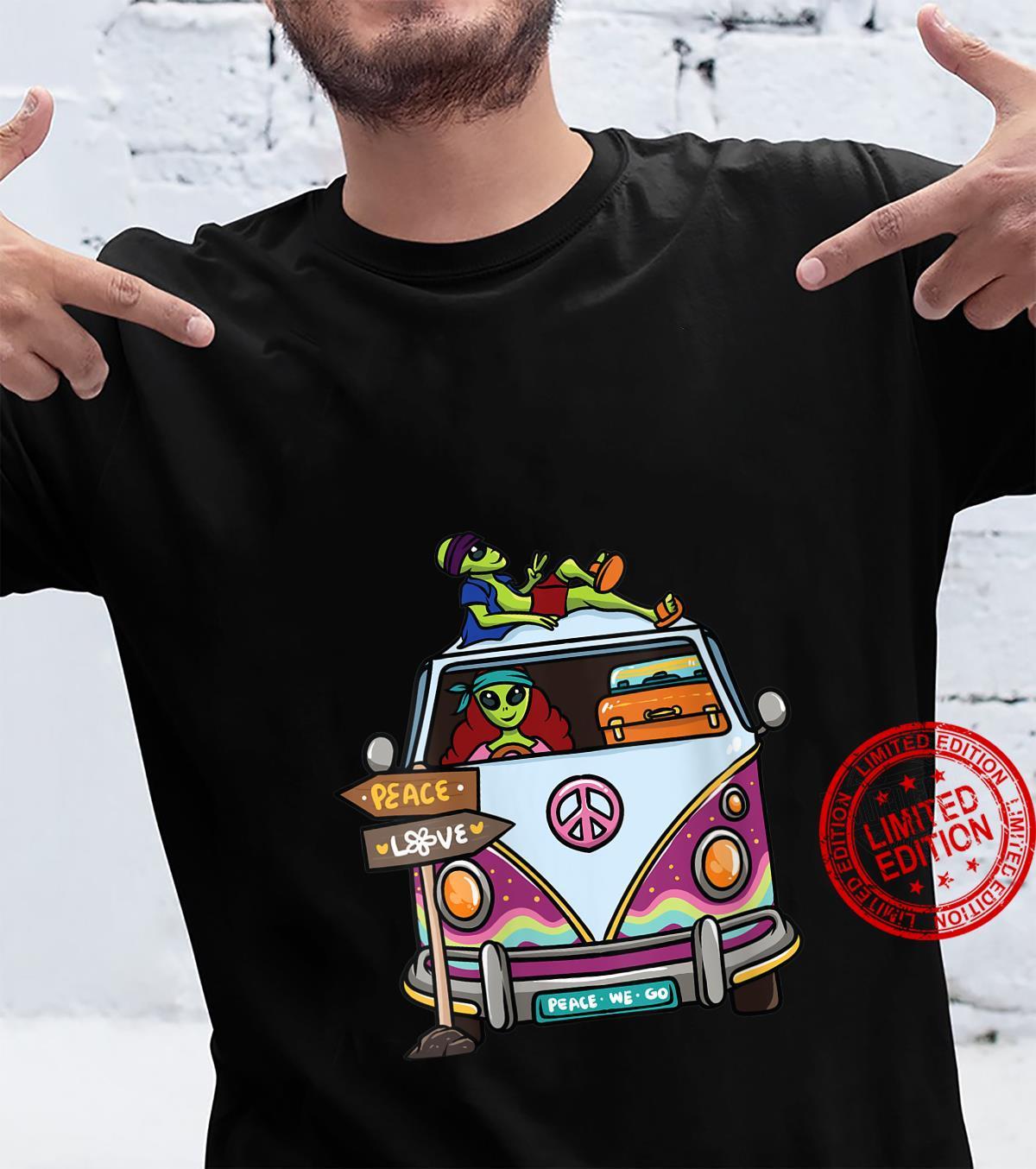 Womens Vintage Hippie Van Flower Bus Aliens Peace Sign Shirt