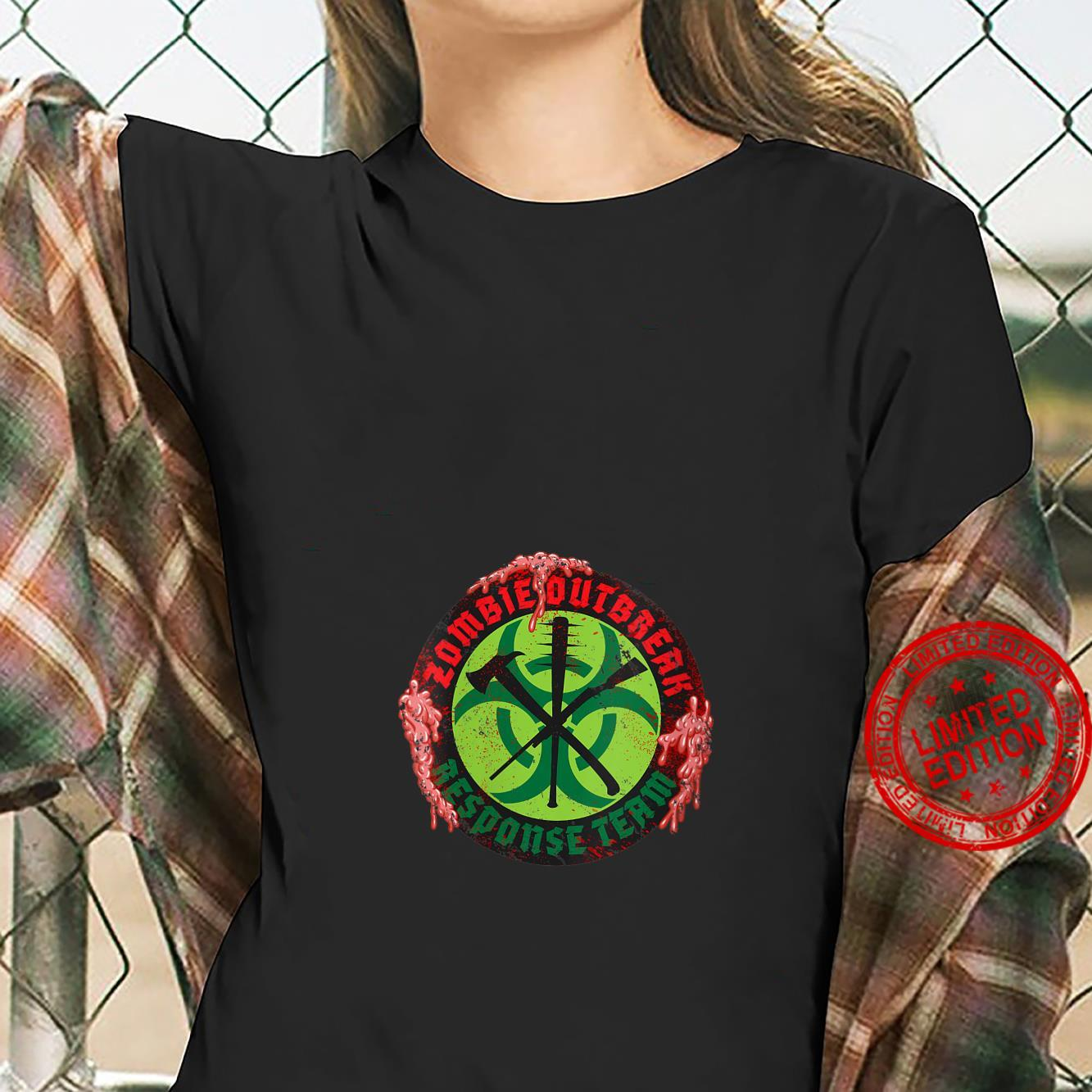Womens Zombie Outbreak Assault Team Biohazard Apocalypse Shirt ladies tee