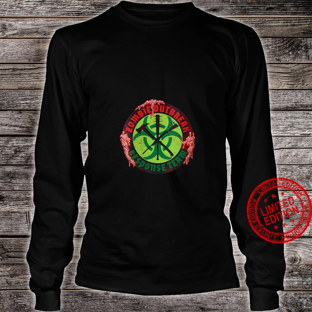 Womens Zombie Outbreak Assault Team Biohazard Apocalypse Shirt long sleeved