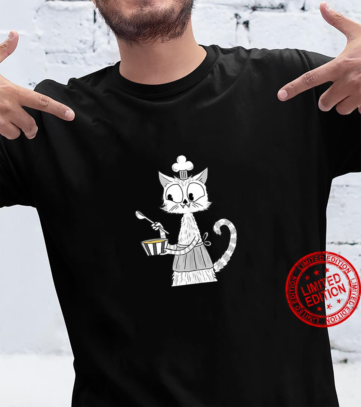Cat Owner Baking Cooking Cute White Cat Shirt