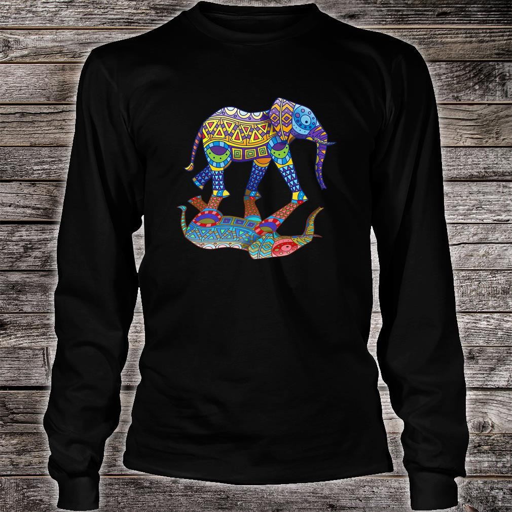 Cute Colorful Indian Elephant Spring Color Festival Shirt long sleeved