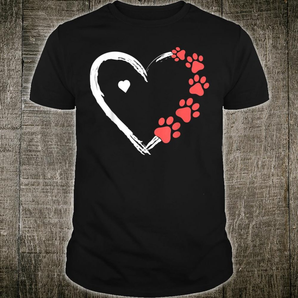 Cute Dog Costume Dogs Paw Print Heart Valentines Day Shirt