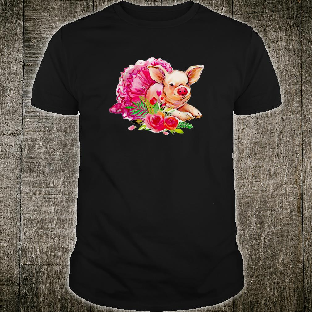 Cute Pink Pig in a Ballerina Tutu With Flowers Shirt