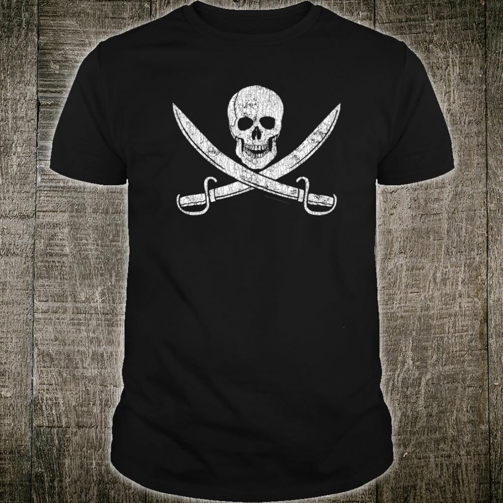 Jolly Roger Pirate Flag Skull and Cutlasses Super Distressed Shirt
