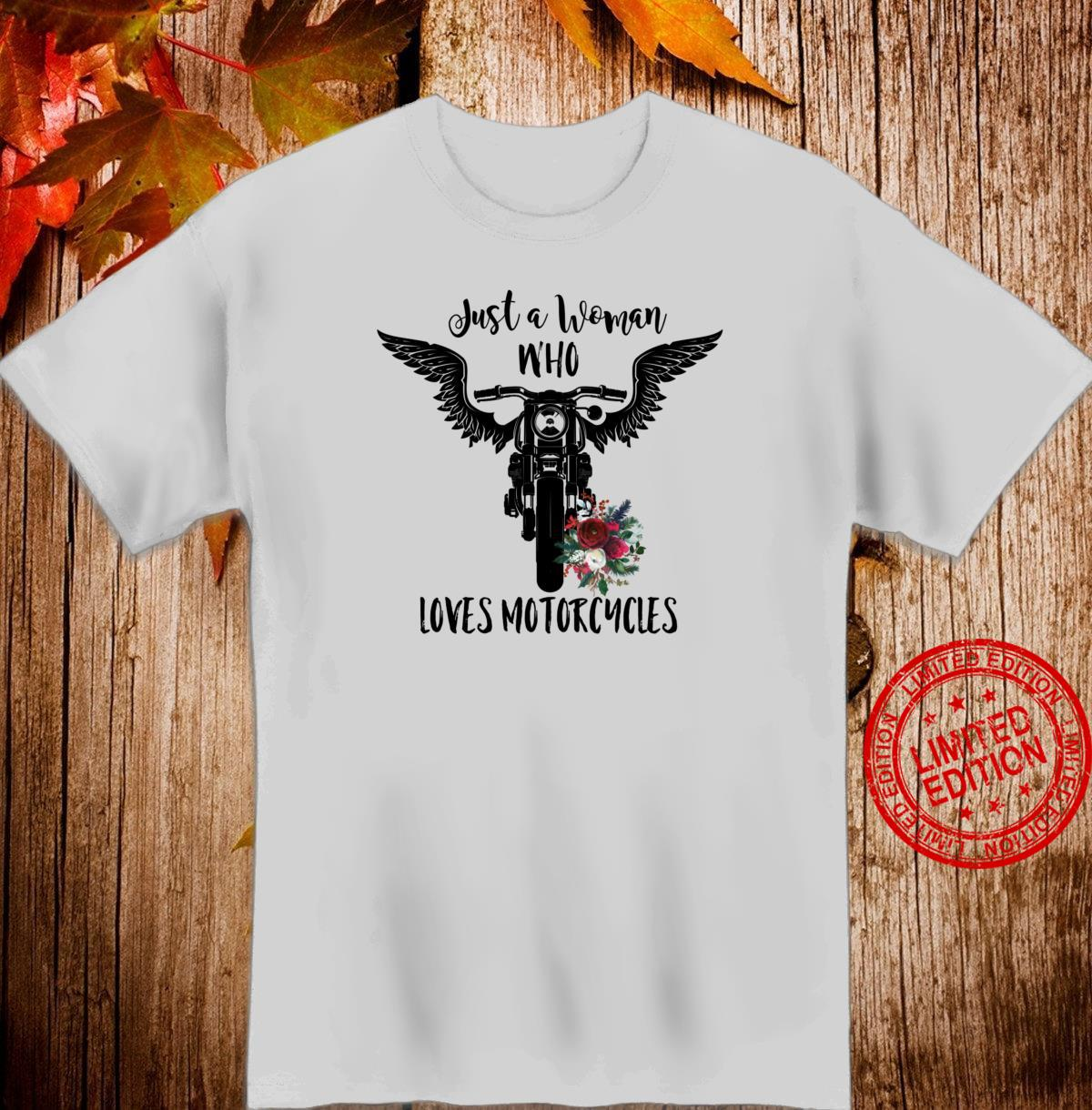 Just A Who Loves Motorcycles Angel Wings Floral Shirt