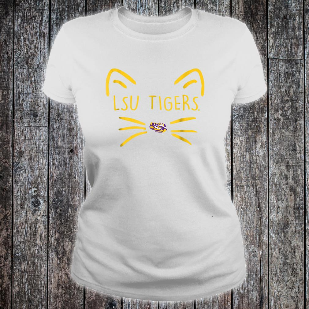 LSU Tigers Cat Face Team Name Shirt ladies tee