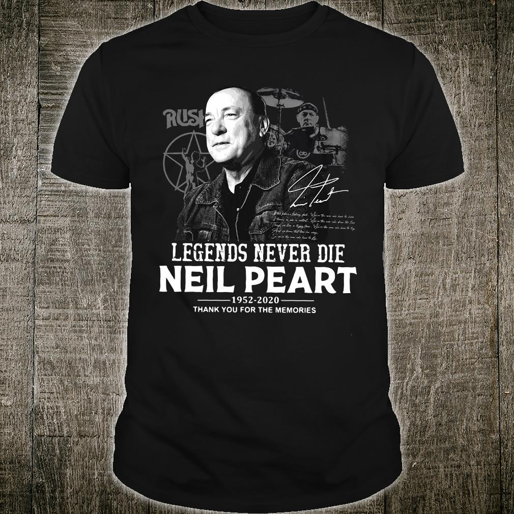 Legends never die neil peart 1952-2020 thank you for the memories shirt