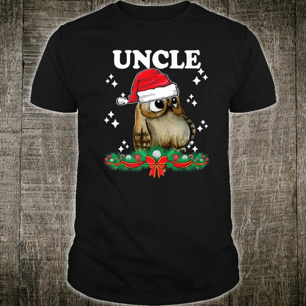 Mens Uncle Owl Santa Christmas Xmas Matching Family Pajama Shirt