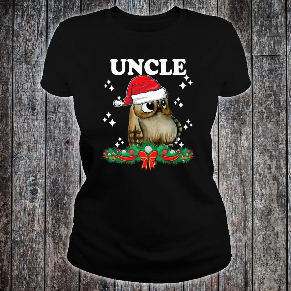 Mens Uncle Owl Santa Christmas Xmas Matching Family Pajama Shirt ladies tee