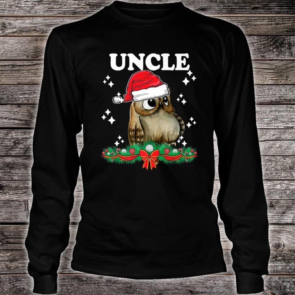 Mens Uncle Owl Santa Christmas Xmas Matching Family Pajama Shirt long sleeved