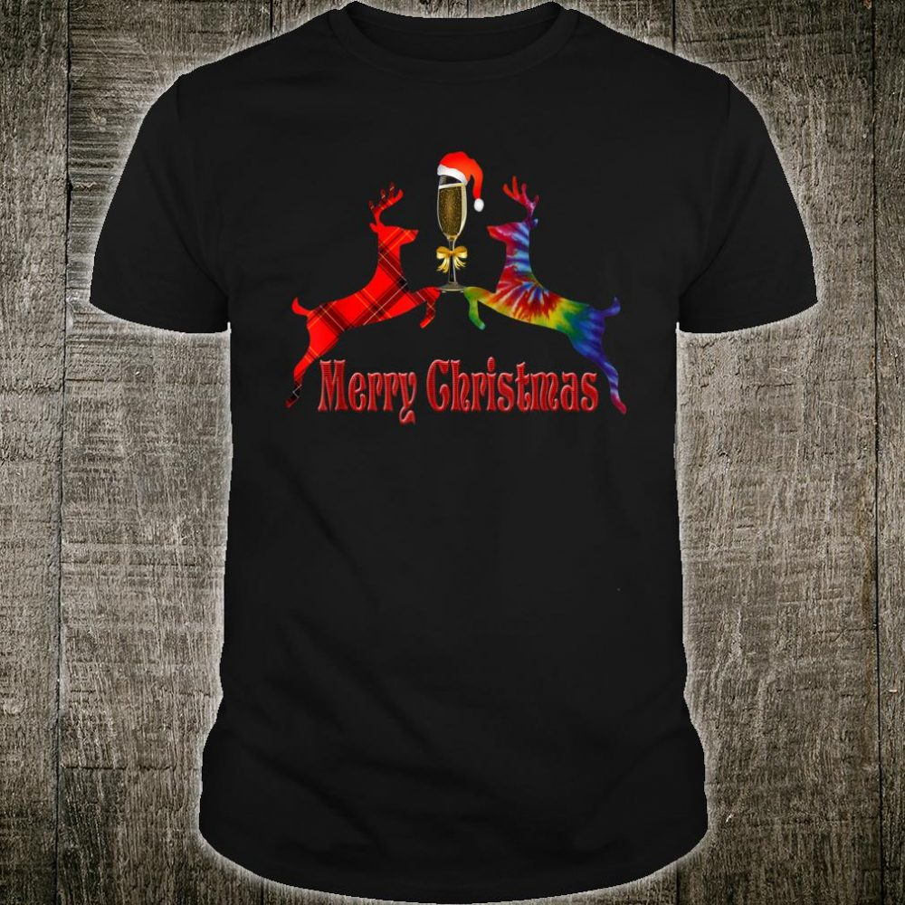 Merry Christmas Plaid Tie Dye Reindeer Wine Glass Santa Shirt