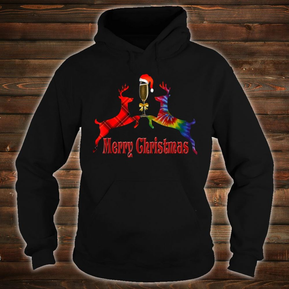 Merry Christmas Plaid Tie Dye Reindeer Wine Glass Santa Shirt hoodie