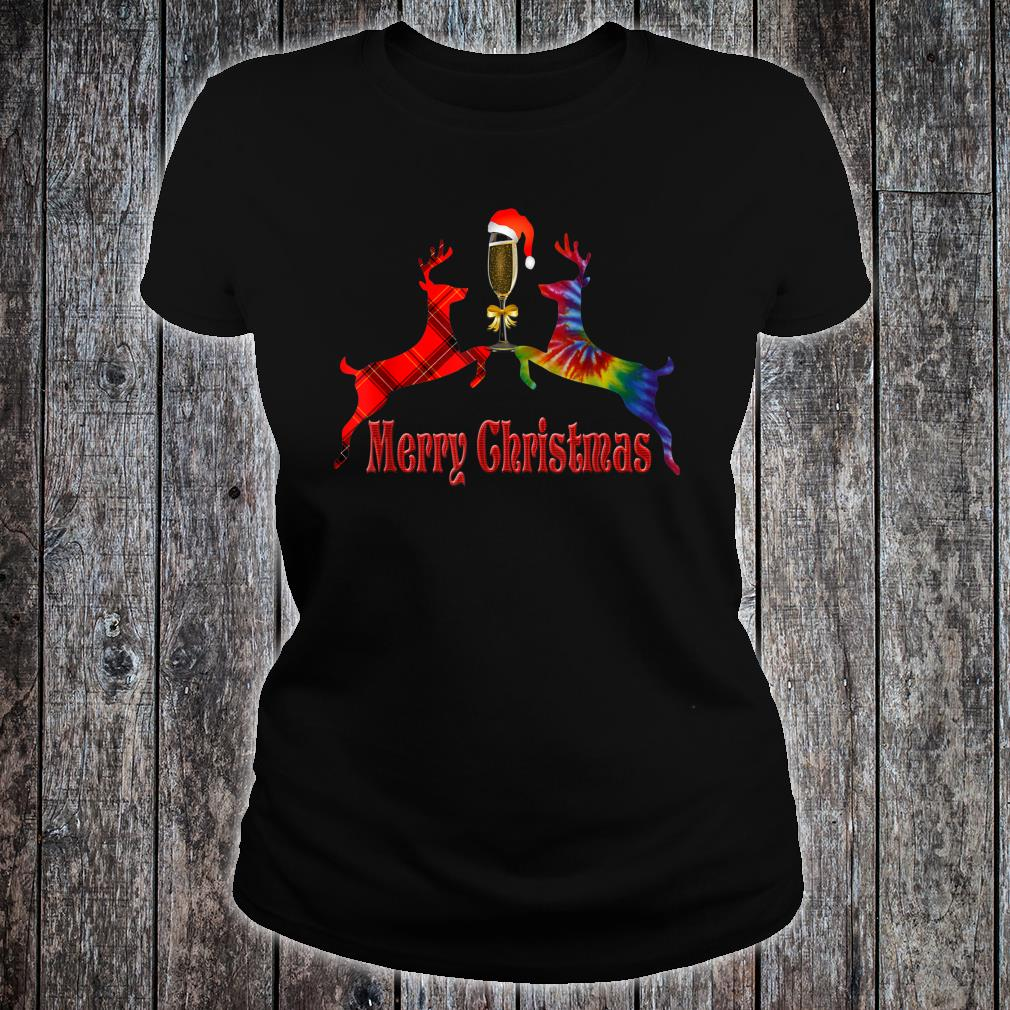 Merry Christmas Plaid Tie Dye Reindeer Wine Glass Santa Shirt ladies tee