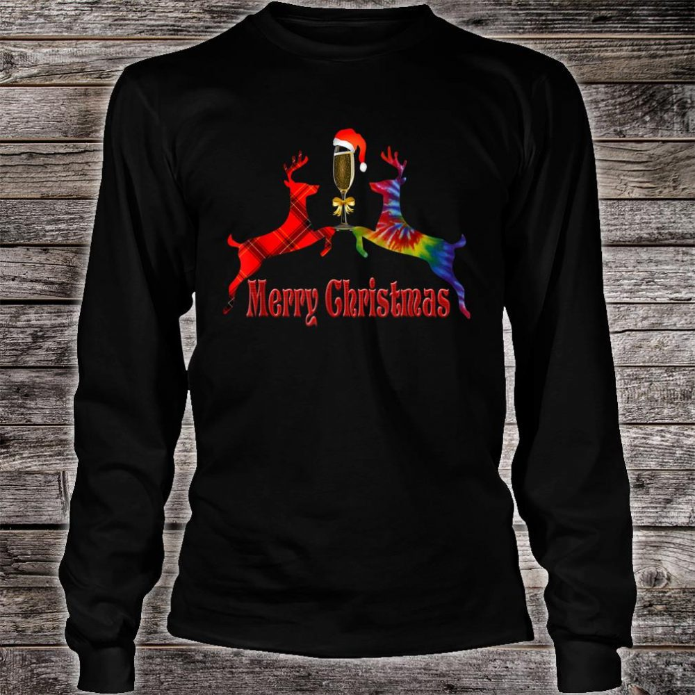 Merry Christmas Plaid Tie Dye Reindeer Wine Glass Santa Shirt long sleeved