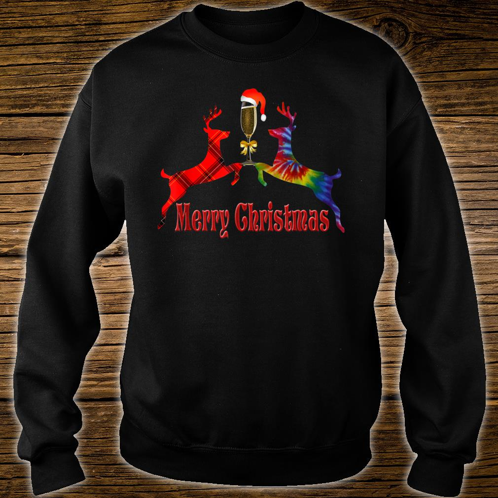 Merry Christmas Plaid Tie Dye Reindeer Wine Glass Santa Shirt sweater