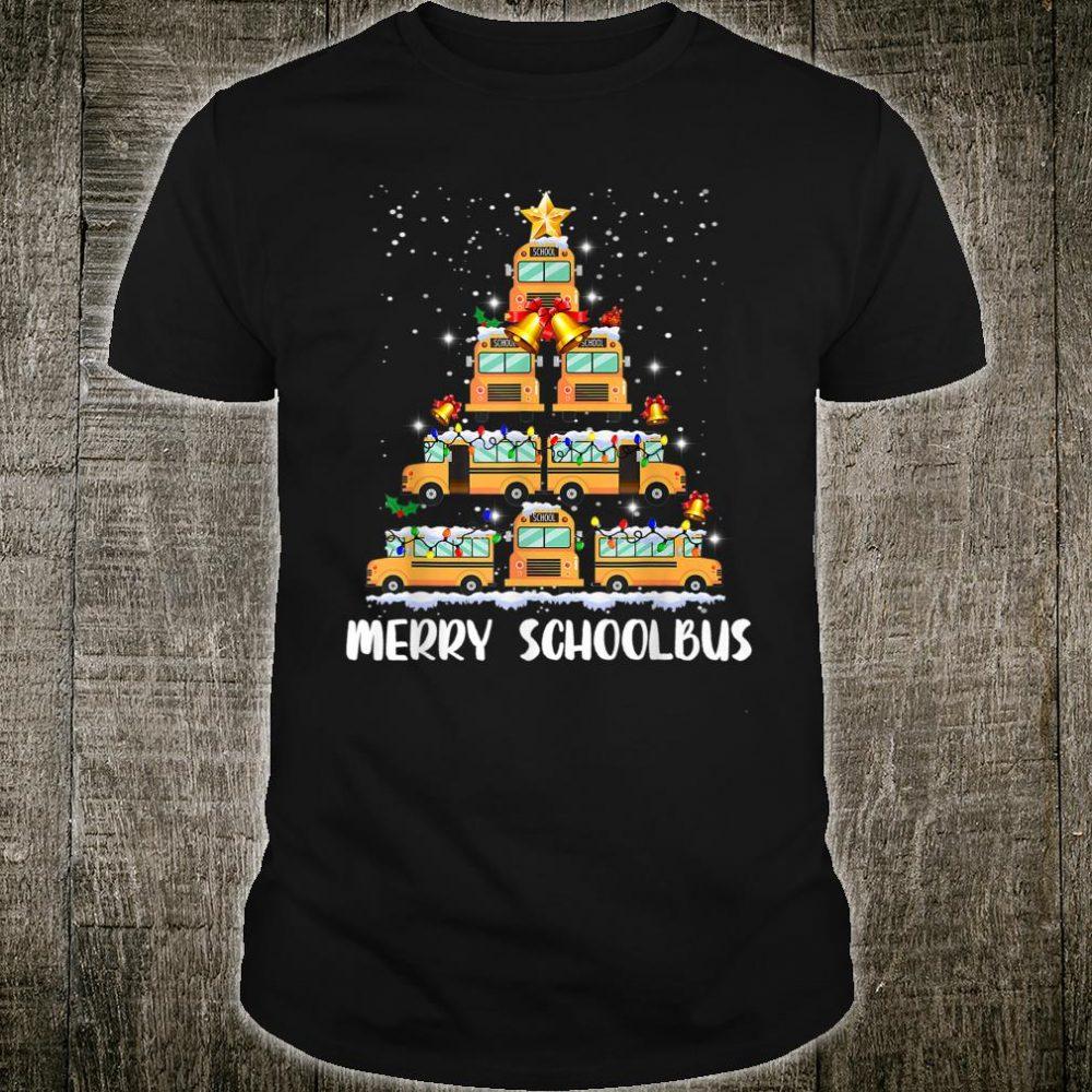 Merry Schoolbus Christmas Tree School Bus Driver Shirt